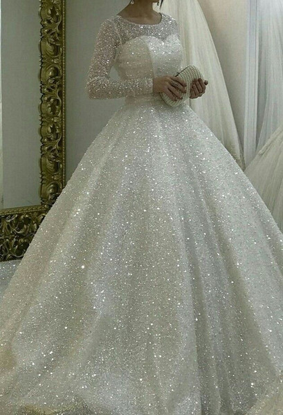Bling Bling Arabic Long Sleeve Wedding Dresses 2019 New Design A Line Scoop Neck Wedding Dresses Bridal Gowns Robe De Mariée DA023