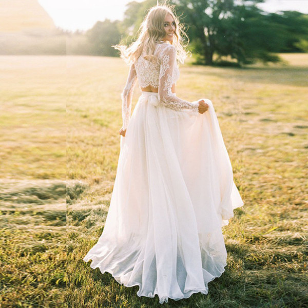Two Pieces Bohemian Wedding Dresses Lace Style Long Chiffon Vestido De Noiva Beach Bridal Gown Long Sleeves Robe De Mariee DA060