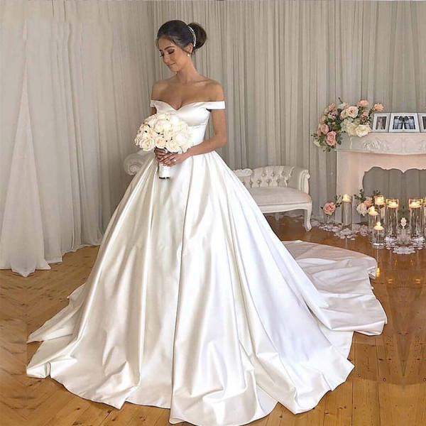 2019 Simple Style Satin Wedding Dresses A Line Floor Length Covered Button Back Wedding Bridal Gowns Court Train Plus Size DA040