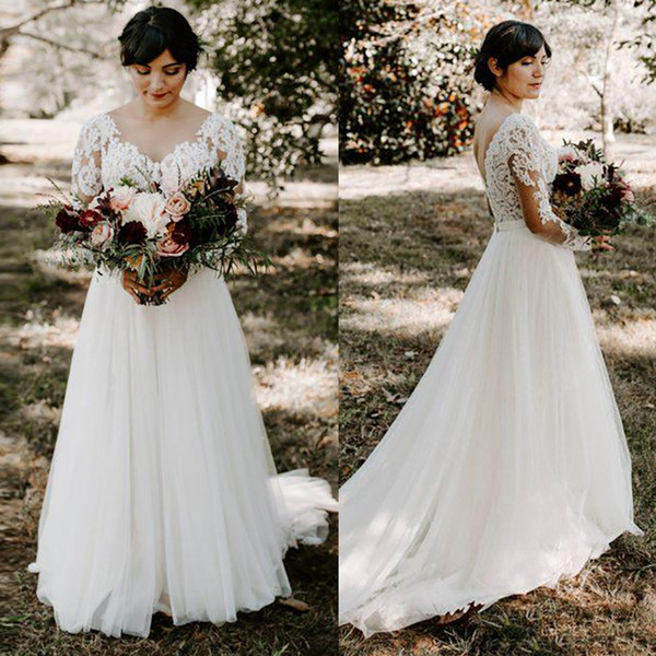 2019 Summer Beach Wedding Dresses Plus Size A Line Long Sleeve Lace Appliques Boho Wedding Dresses Bohemian Bridal Gowns Floor Length DA042