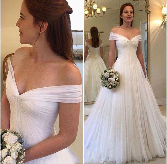 Pleats Beach Wedding Dresses A Line Off Shoulder Zipper Up Tulle Floor Length Bohemia Wedding Dresses Bridal Gowns Robe De Mariée DA038