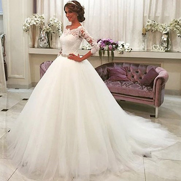 A Line Long Sleeve Wedding Dresses Off Shoulder Lace Beaded Wedding Dresses Bridal Gowns Tulle Floor Length Vestido De Novia DA049