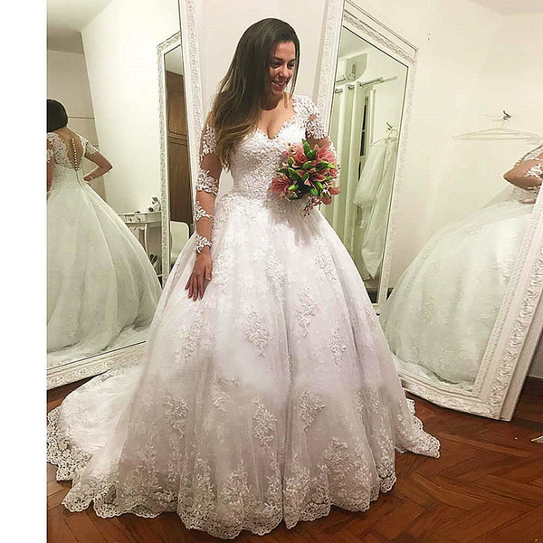 Long Sleeve Wedding Dresses Robe De Mariée A Line Appliques Sweep Train Wedding Dresses Bridal Gowns Lace Up DA045