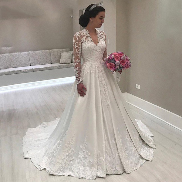 2019 New Vintage Wedding Dresses V Neck Long Sleeve Satin Lace Appliques Wedding Dresses Bridal Gowns Robe De Mariée DA050