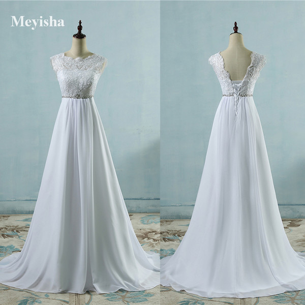 ZJ9058 Hot Sale Chiffon Beach crystal Wedding Dresses Vestidos de Novia Empire Beaded Bohemian Bridal Gowns with train size