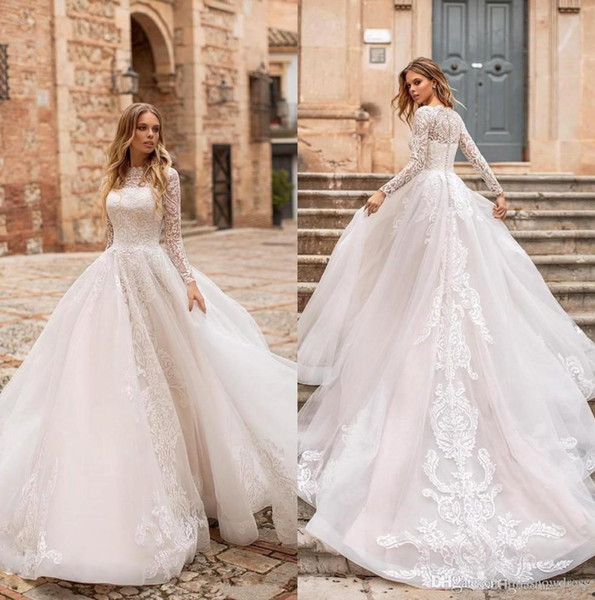 New Lace A Line Wedding Dresses Long Sleeve High Collar Lace Applique Tulle Illusion Sweep Train Beach Garden Bridal Gowns Plus Size