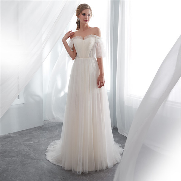 Cheap A Line Beach Wedding Dresses 2019 New Off The Shoulder Floor Length Champagne Bridal Dress Wedding Gowns Custom Made