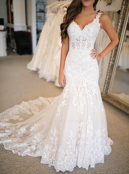 Sexy Long Mermaid Wedding Dresses New Long Sleeveless Sweep Strain V Neck Lace Applique See Through Wedding Party Gowns