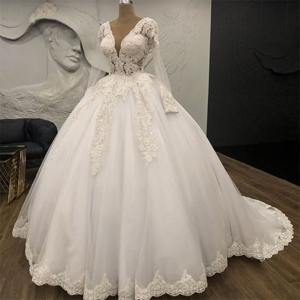 Deep V Neck Ball Gown Wedding Dresses 2019 New Long Sleeve Lace Applique Beading Sweep Strain Wedding Gowns Bridal Dress