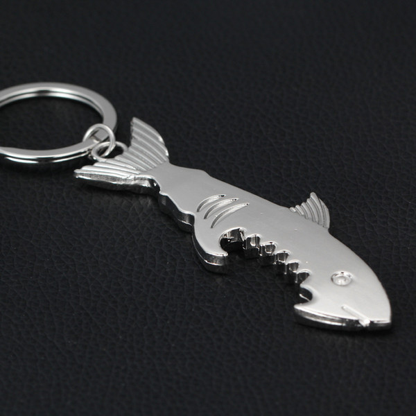 Big Shark Alloy Car Key chain Silver Bottle Opener Baby Shower Party Gifts Wedding Supplies Keychain Favors + DHL free shipping
